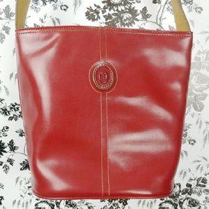 Mondani NY red leather bucket shoulder bag